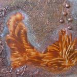 Malovaný na MDF desce. 58 x 51cm s oranžovým rámem.